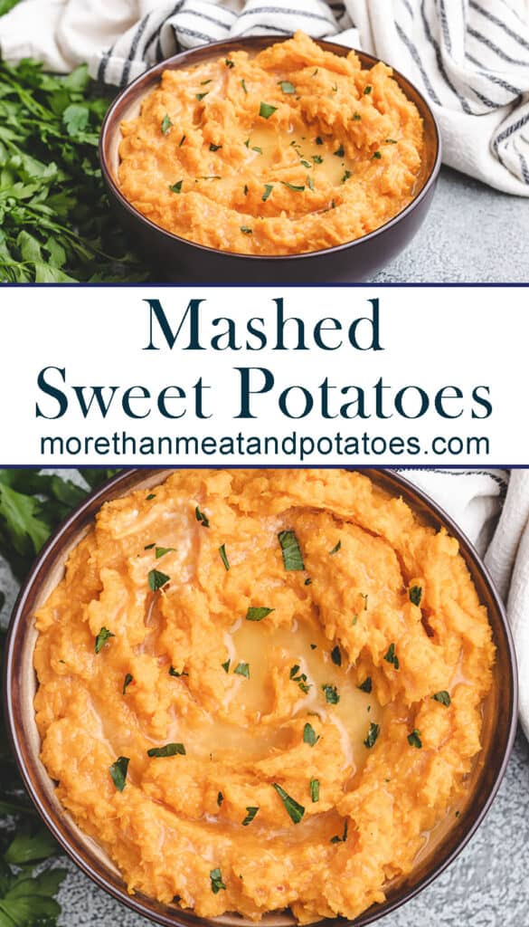 Two stacked photos displaying the mashed sweet potatoes.