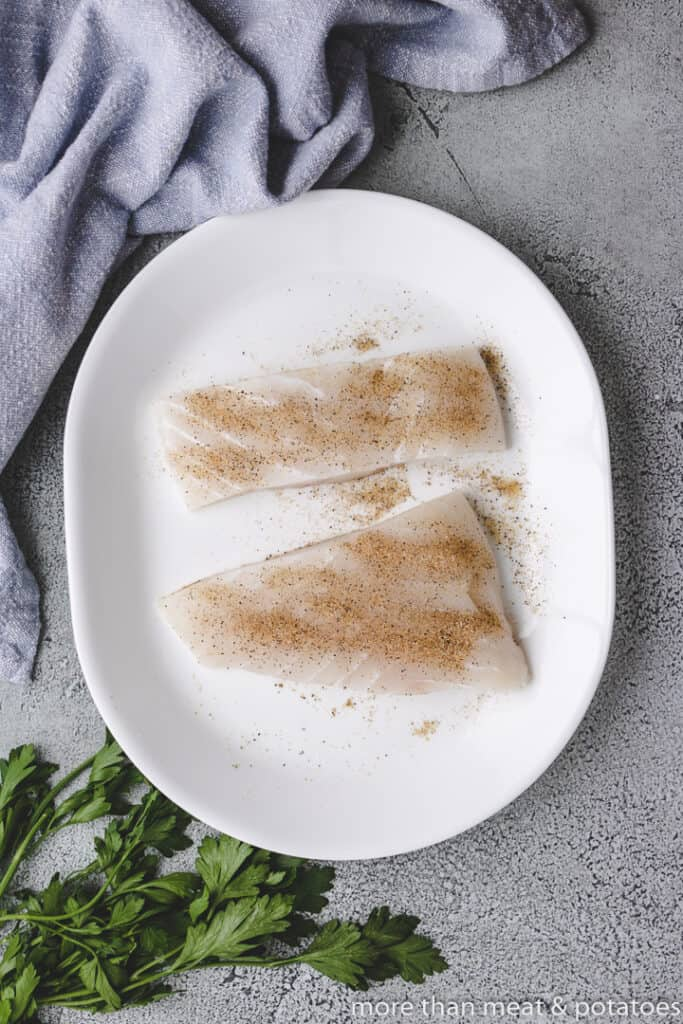 Raw fish seasoned with a spice blend.