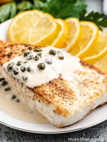 Pan seared halibut served with lemon caper sauce.