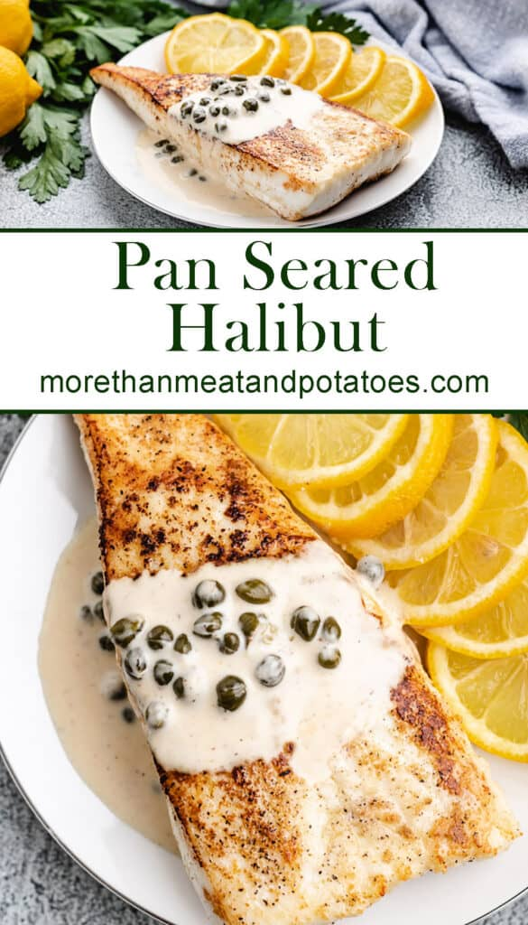Two photos showing the finished pan seared halibut.