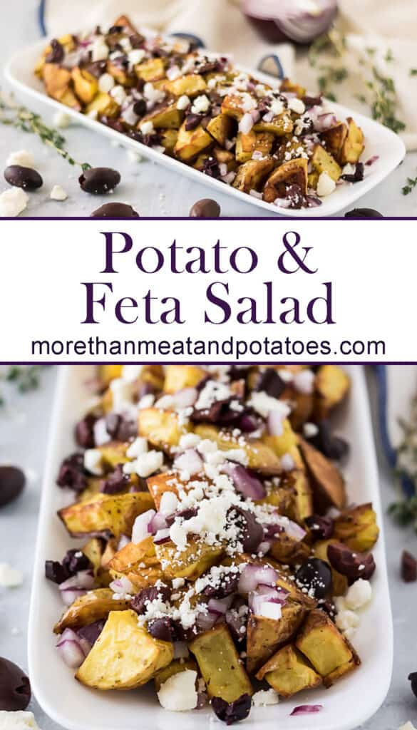 Two stacked photos of the potato and feta salad.
