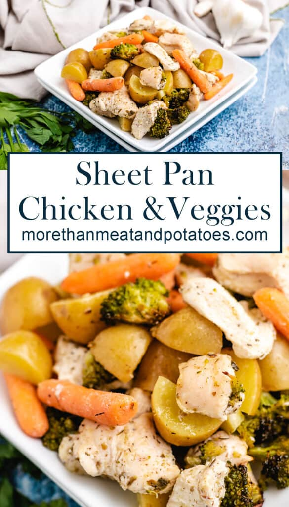 Two stacked photos showing the finished sheet pan chicken and veggies.
