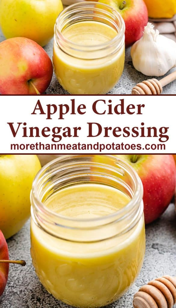 Two photos showing the apple cider vinegar dressing.
