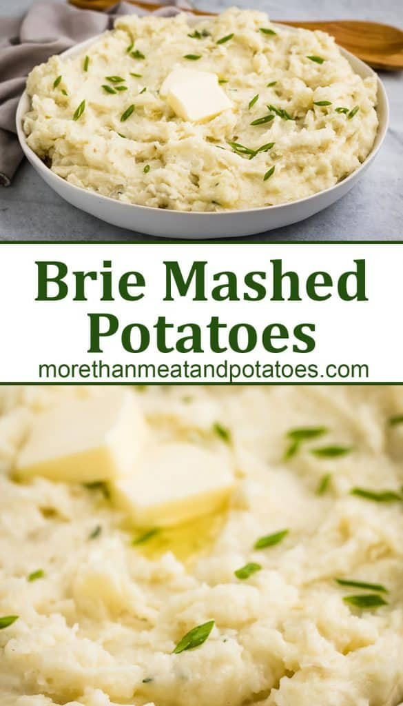 Two stacked photos showing the brie mashed potatoes.