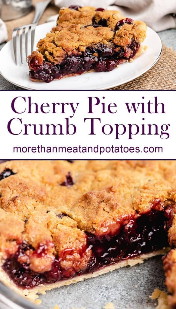 Two stacked photos showing the cherry pie and its filling.