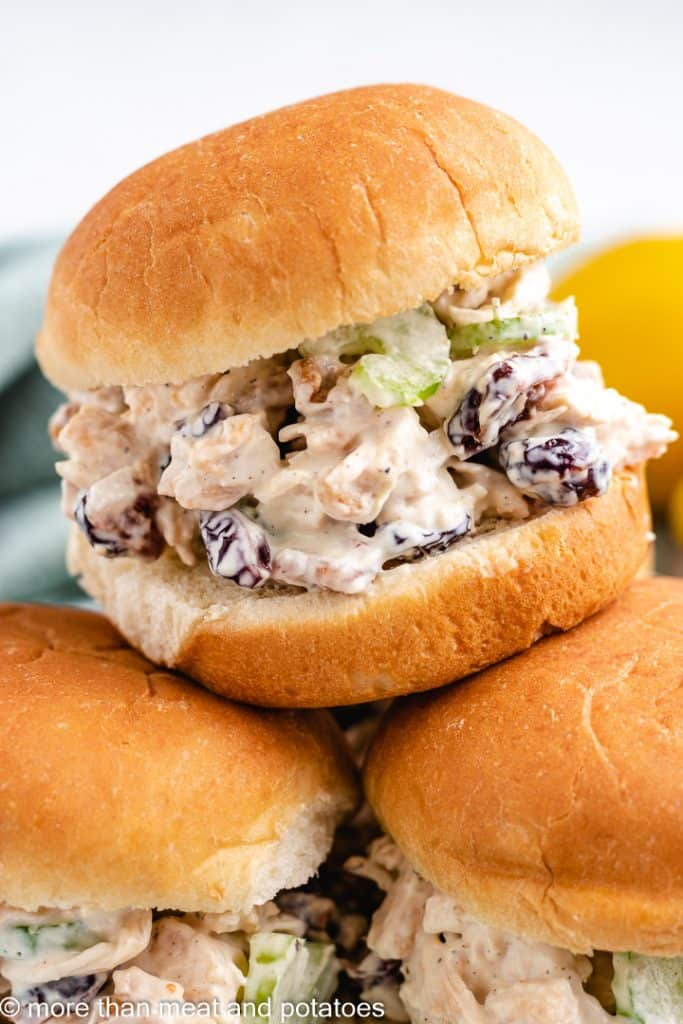 The chicken salad served on slider buns.