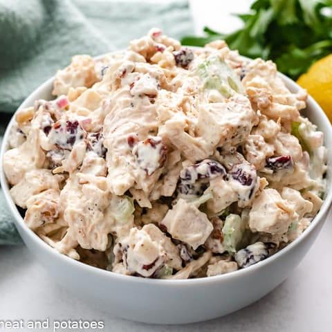 Cranberry chicken salad in small white bowl.