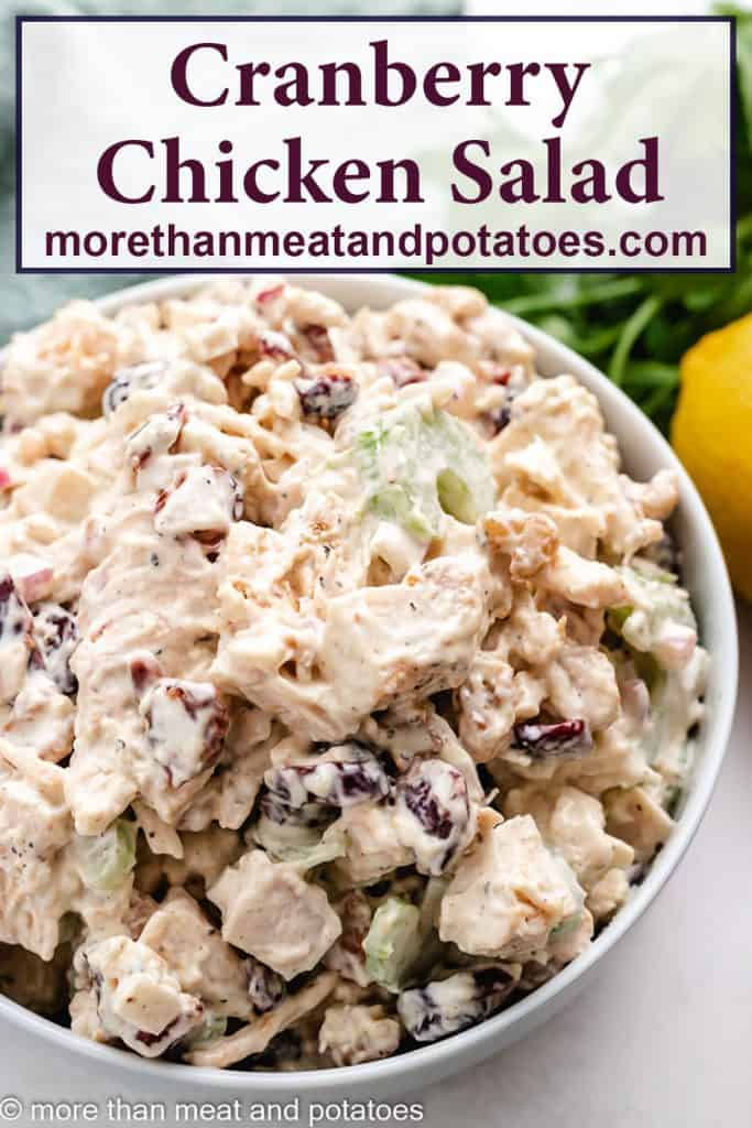 The finished chicken salad with dried cranberries.