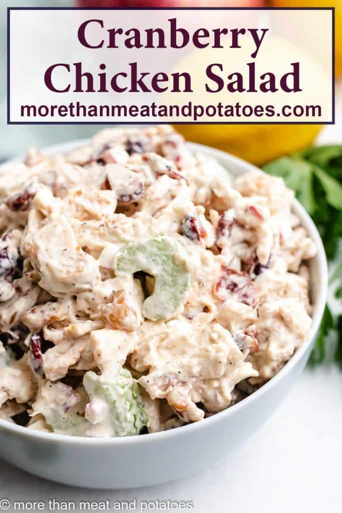 A creamy cranberry chicken salad in a bowl.