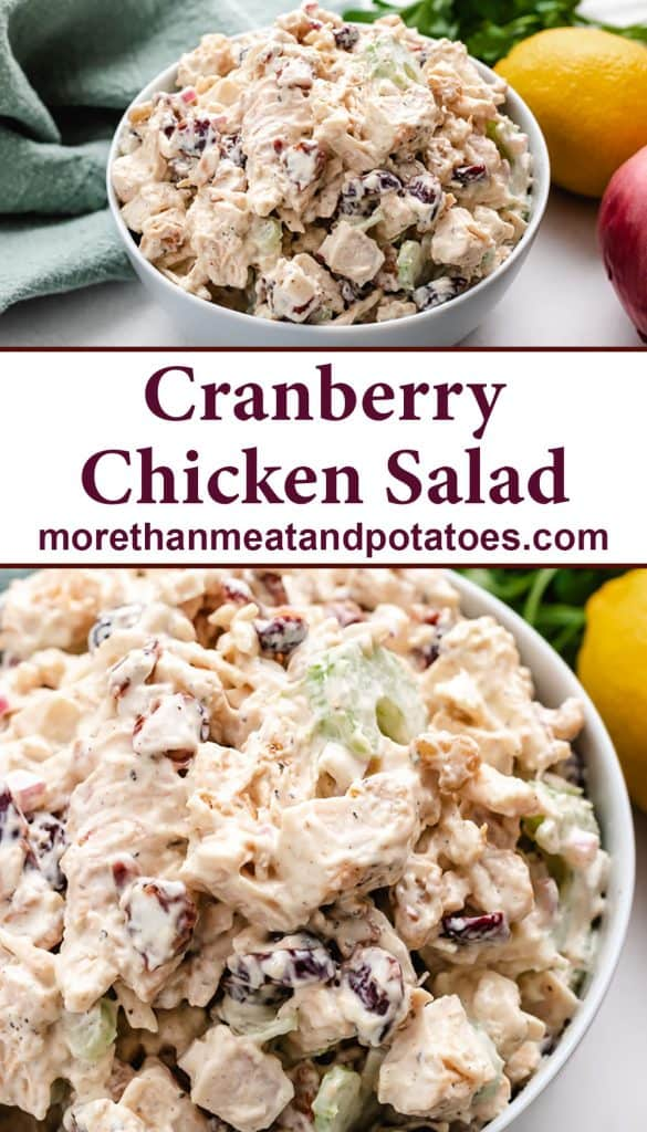 Two stacked photos showing the cranberry chicken salad.