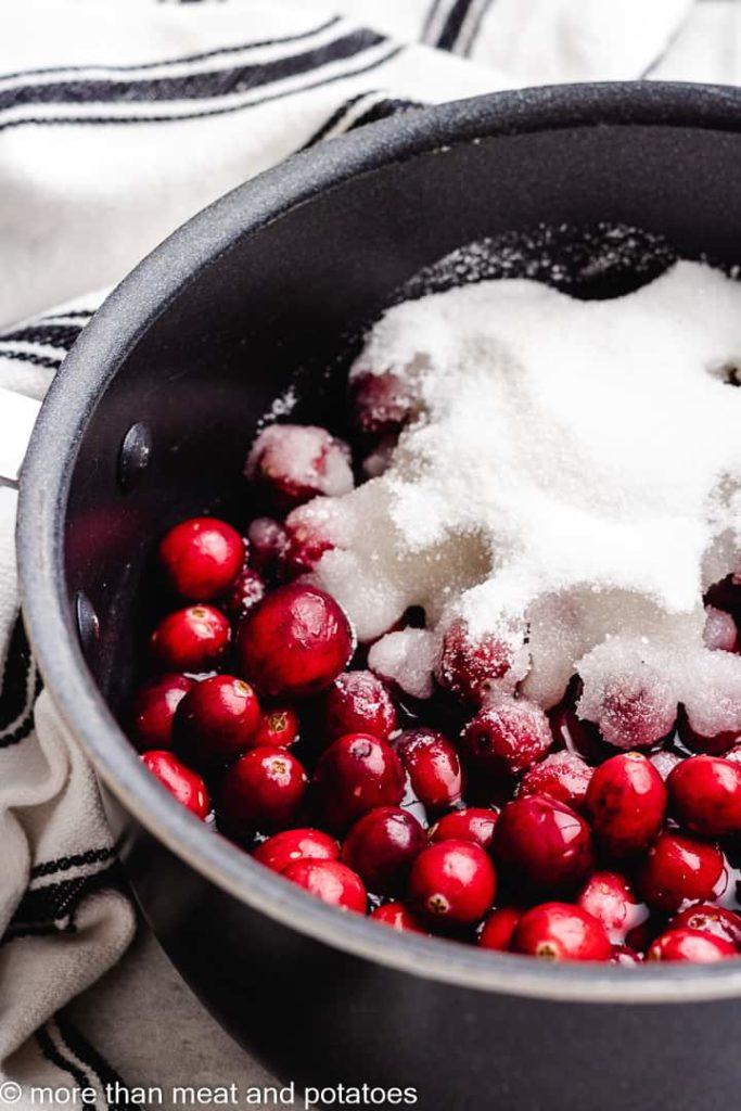 Cranberries, sugar, and water in a medium saucepan.