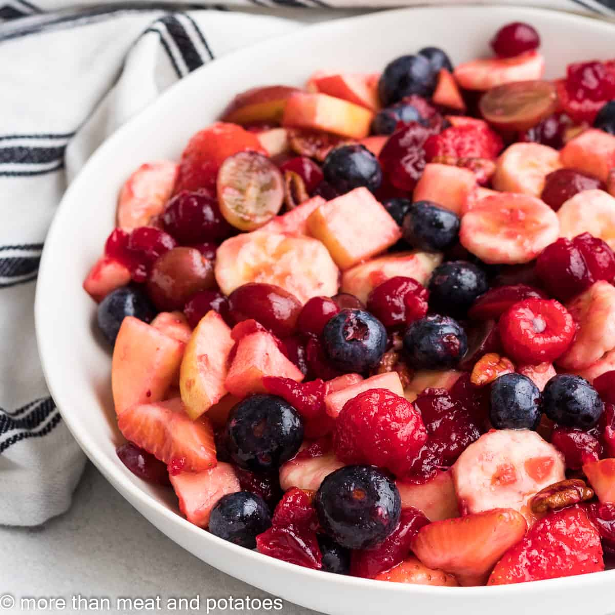 The cranberry fruit salad in a large bowl.