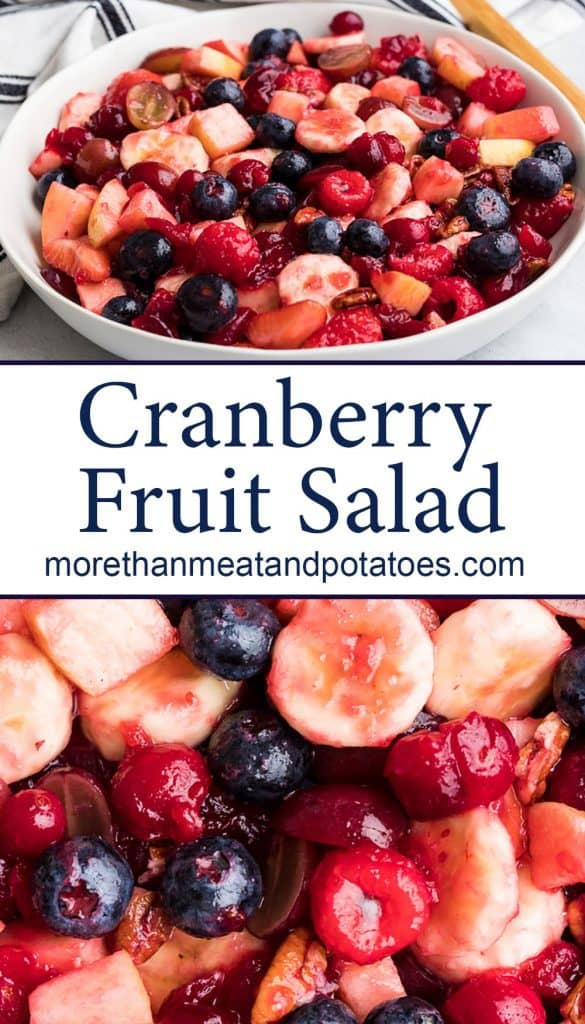 Two stacked photos showing the cranberry fruit salad.
