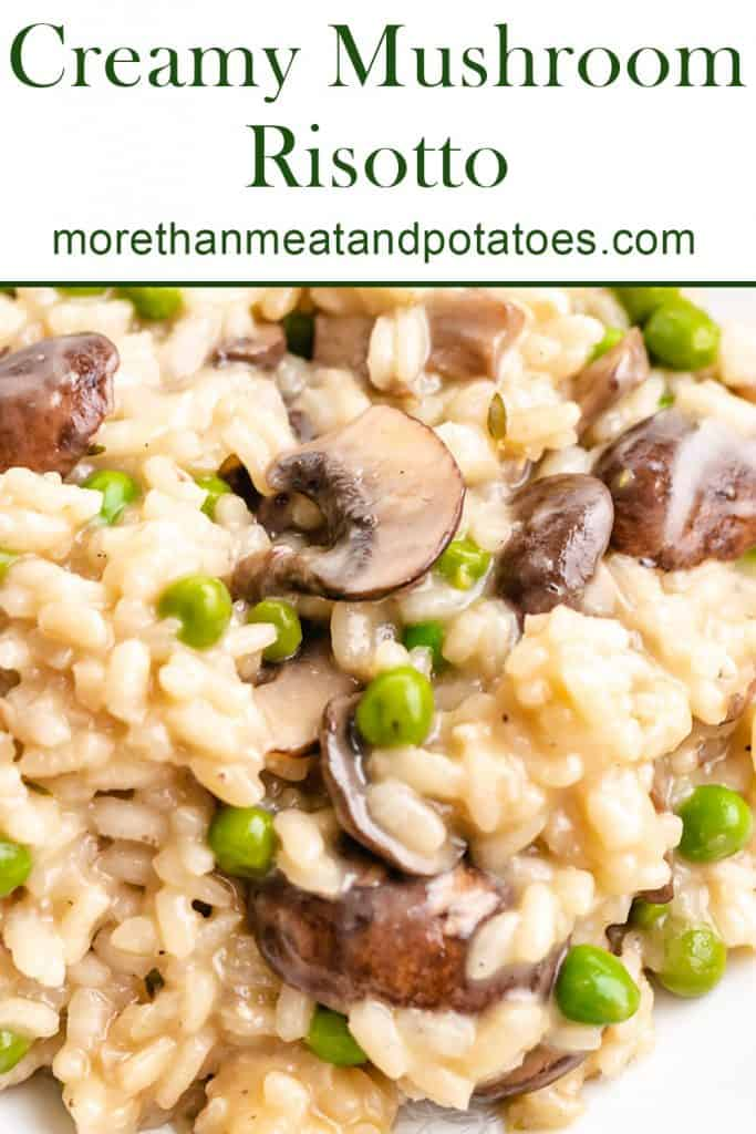 A close-up view of the creamy mushroom risotto.