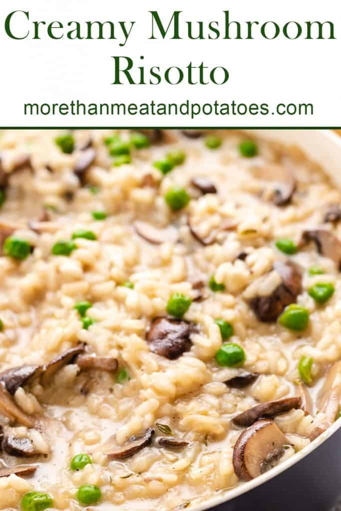 The creamy mushroom risotto in a skillet.