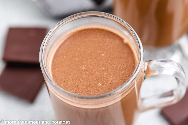 A close-up, aerial view of the dark chocolate coffee drink.