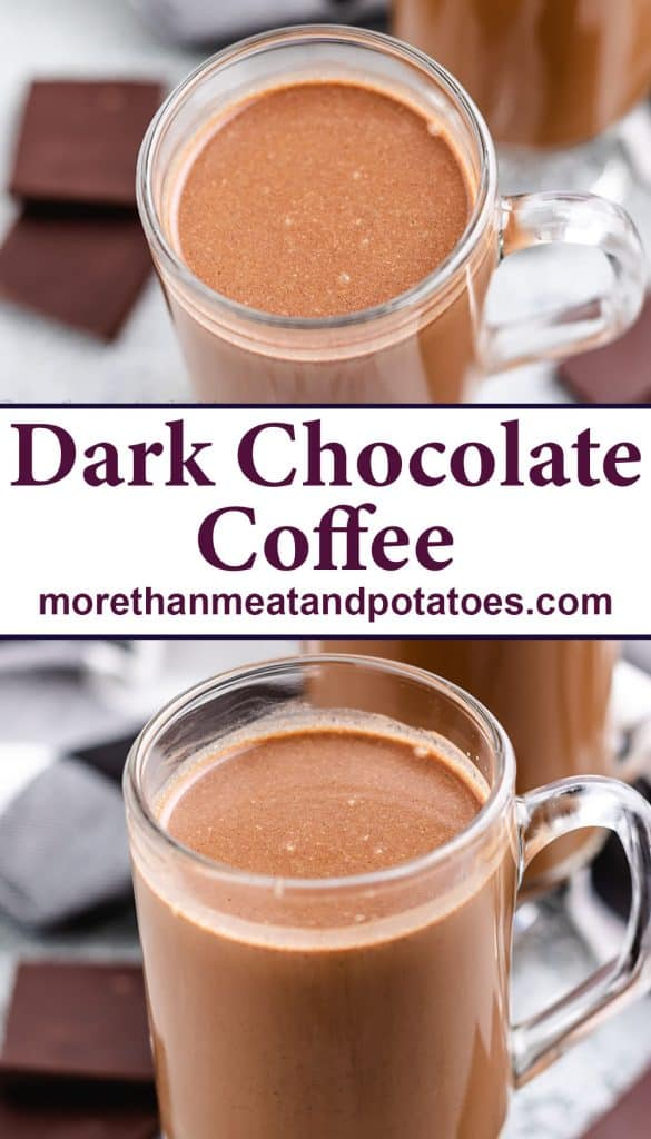 Two stacked photos showing the finished dark chocolate coffee.