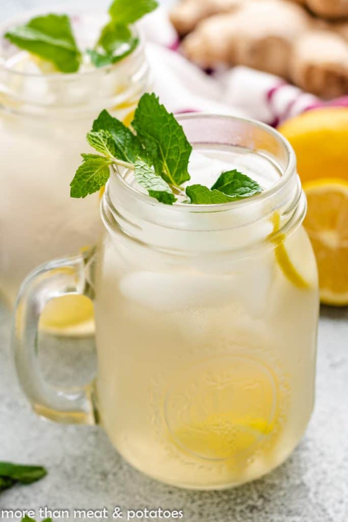 Ginger water flavored with mint and lemon.