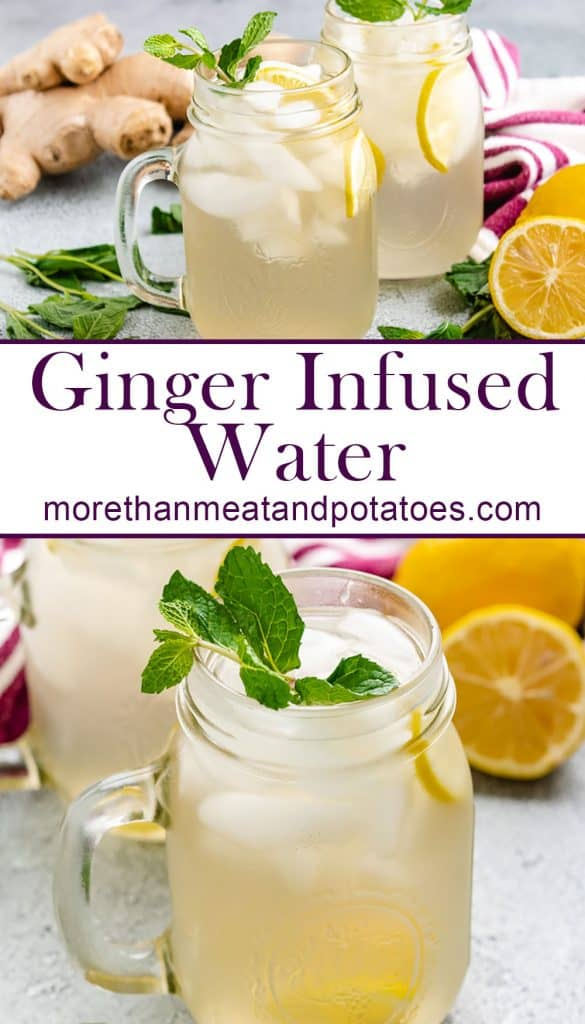 Two stacked photos showing the ginger infused water in mugs.