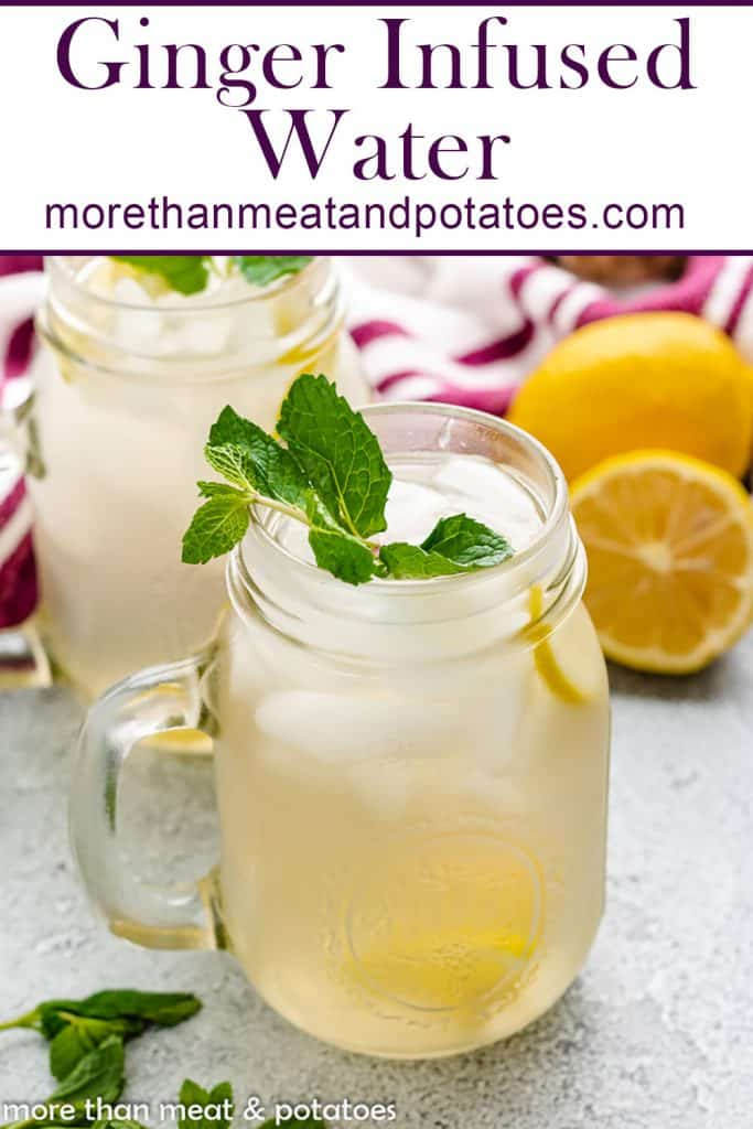 Ginger infused water flavored with mint an lemon.
