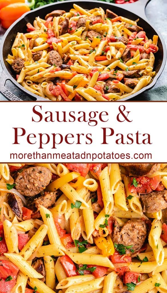 Two photos showing the sausage and peppers pasta.