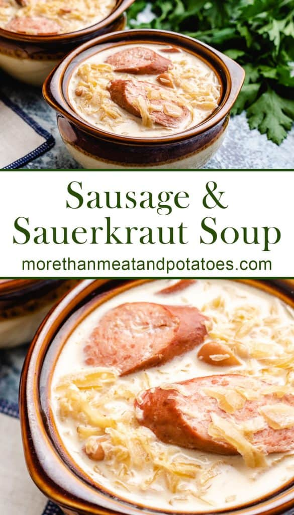 Two stacked photos showing the sausage and sauerkraut soup.
