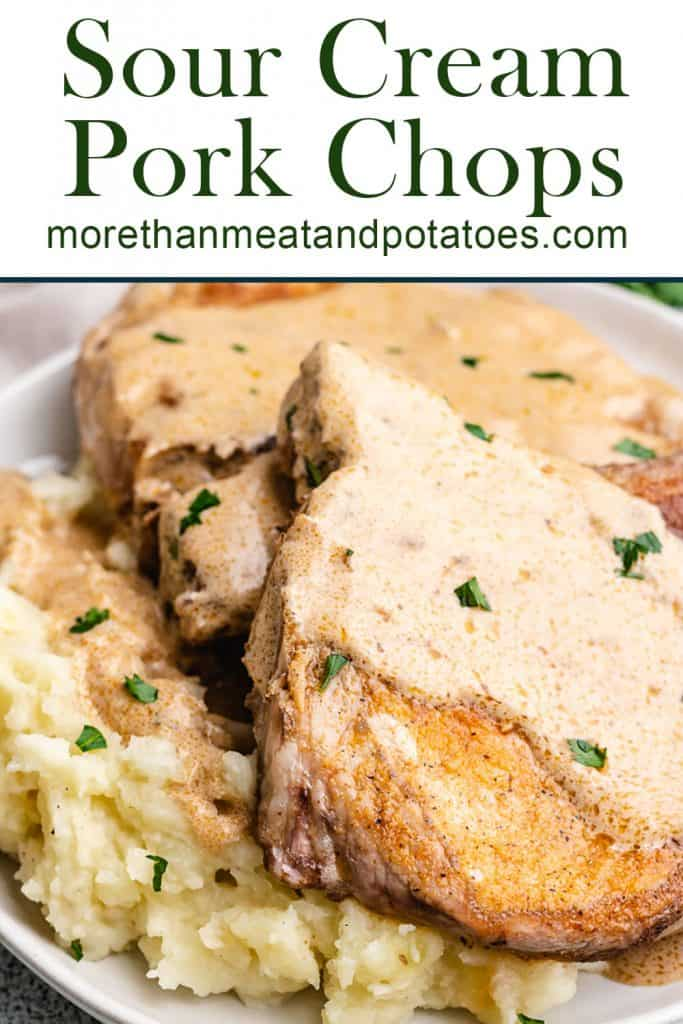Sour cream pork chops and potatoes covered in gravy.