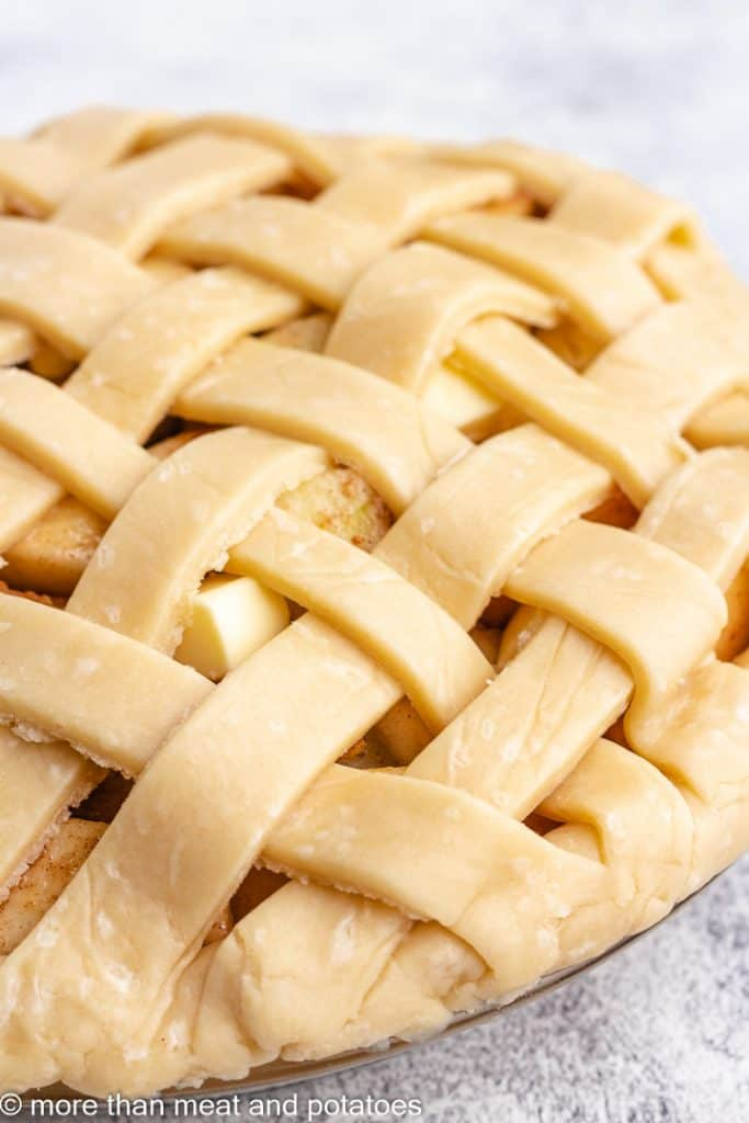 The pie topped with a lattice dough braid.