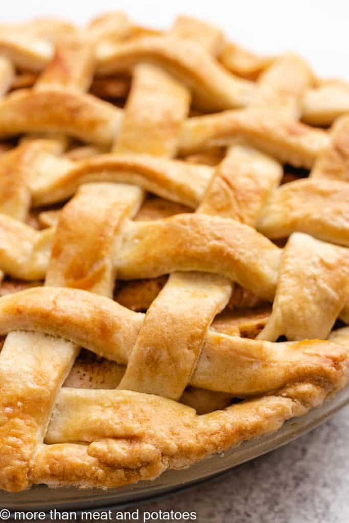 A close-up view of the fresh baked pie.