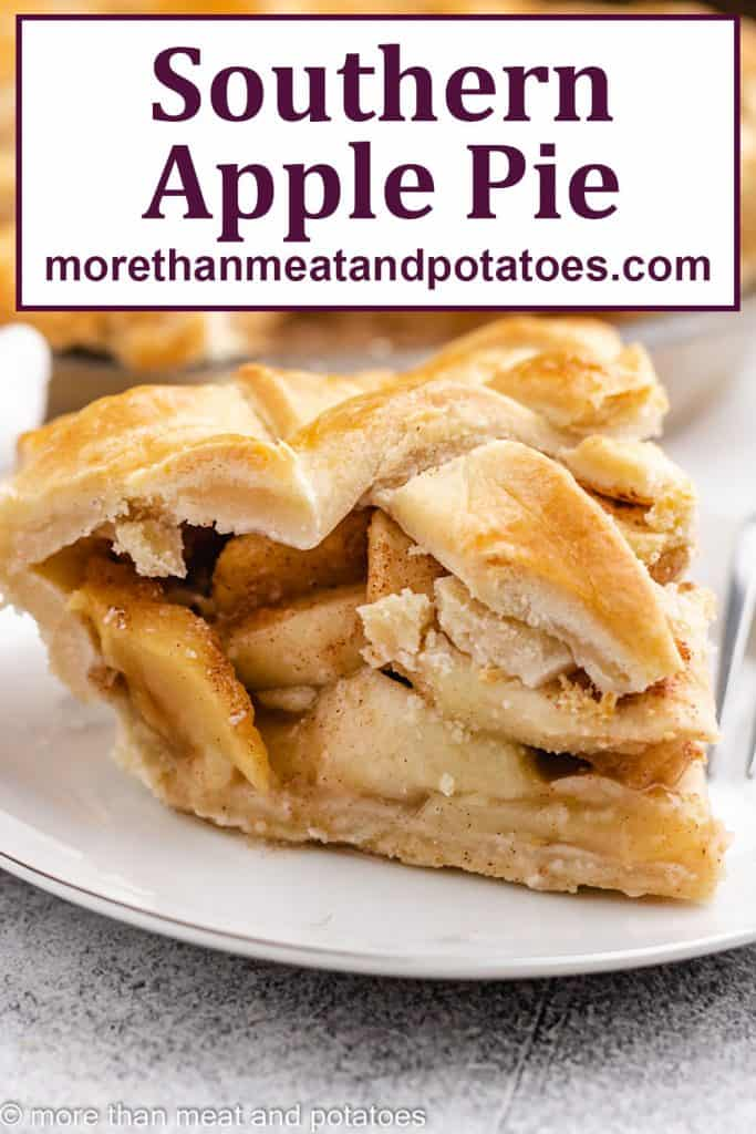 An up-close view of a slice of Southern apple pie.