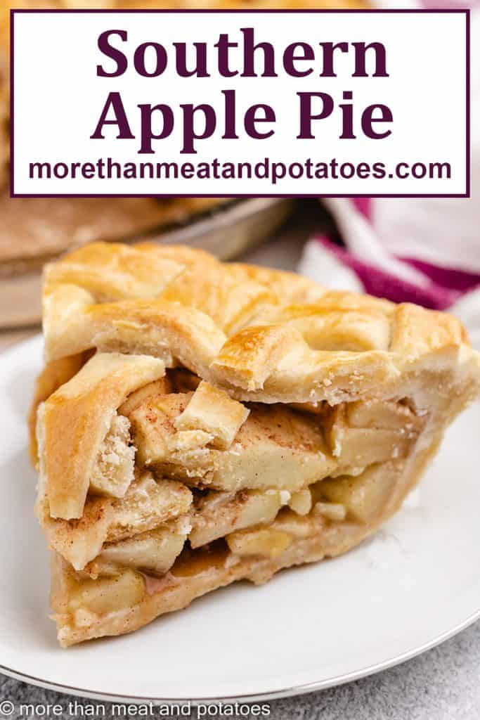 A slice of the southern apple pie on a plate.