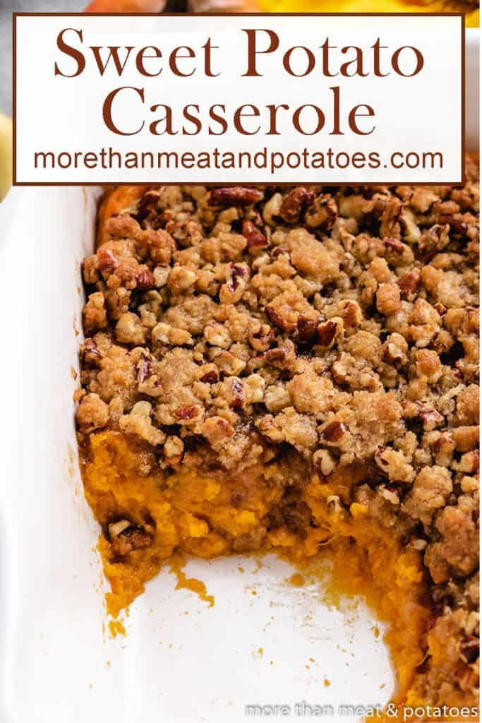 A serving of the sweet potato casserole removed from the dish.