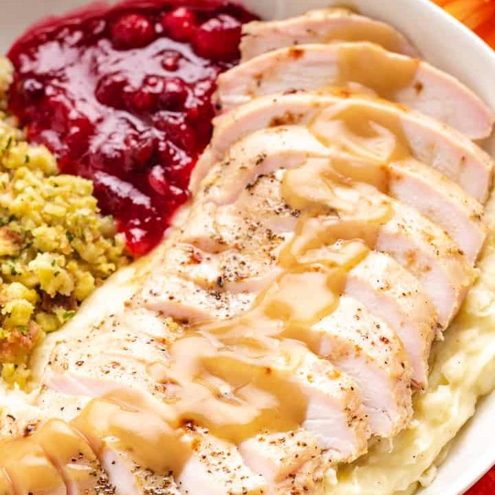 A close-up view of the tender, juicy turkey breast.