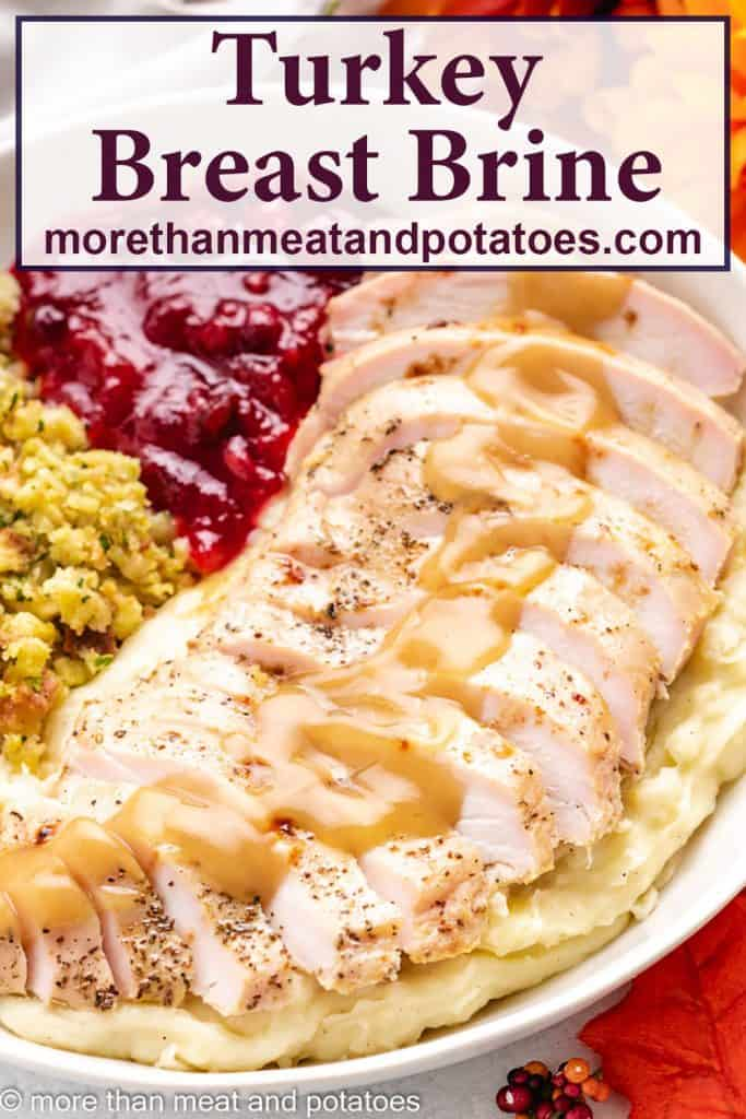 The cooked and sliced turkey breast served with sides.