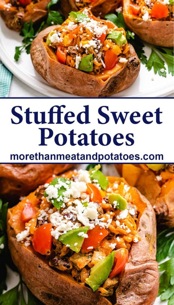 Two close-up photos showing the black bean stuffed sweet potatoes.
