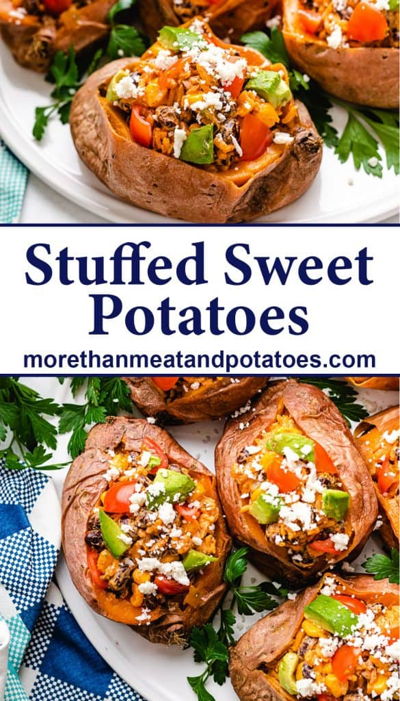 Two stacked photos showing the stuffed sweet potatoes.