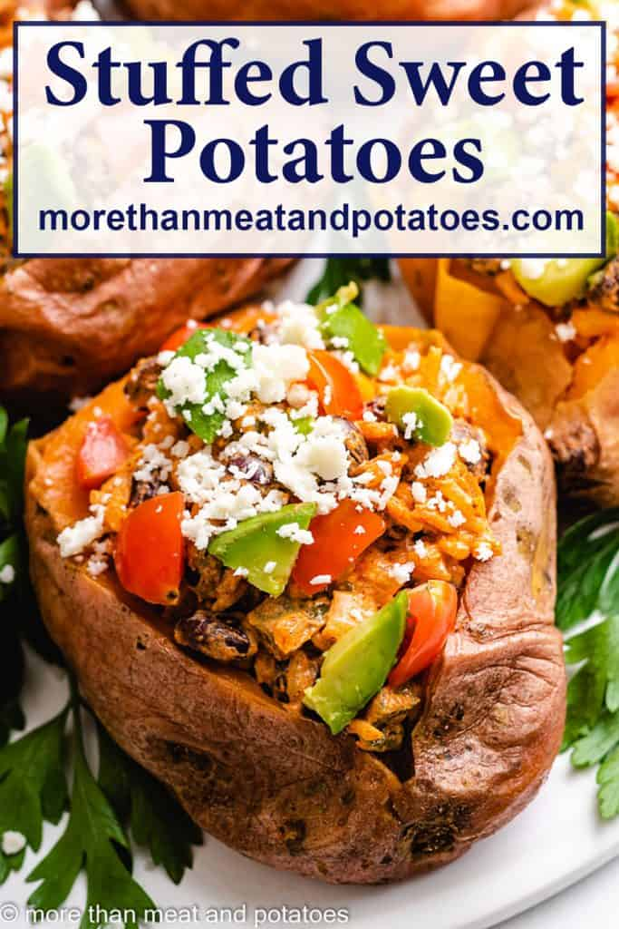 An up-close photo of the black bean stuffed sweet potatoes.