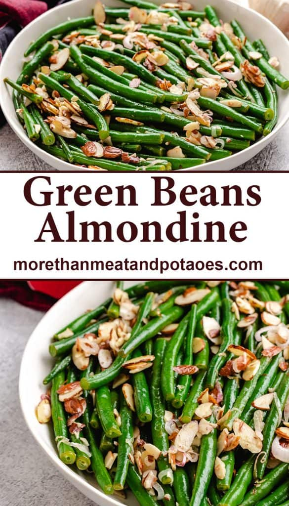 Two photos showing the finished green beans almondine.