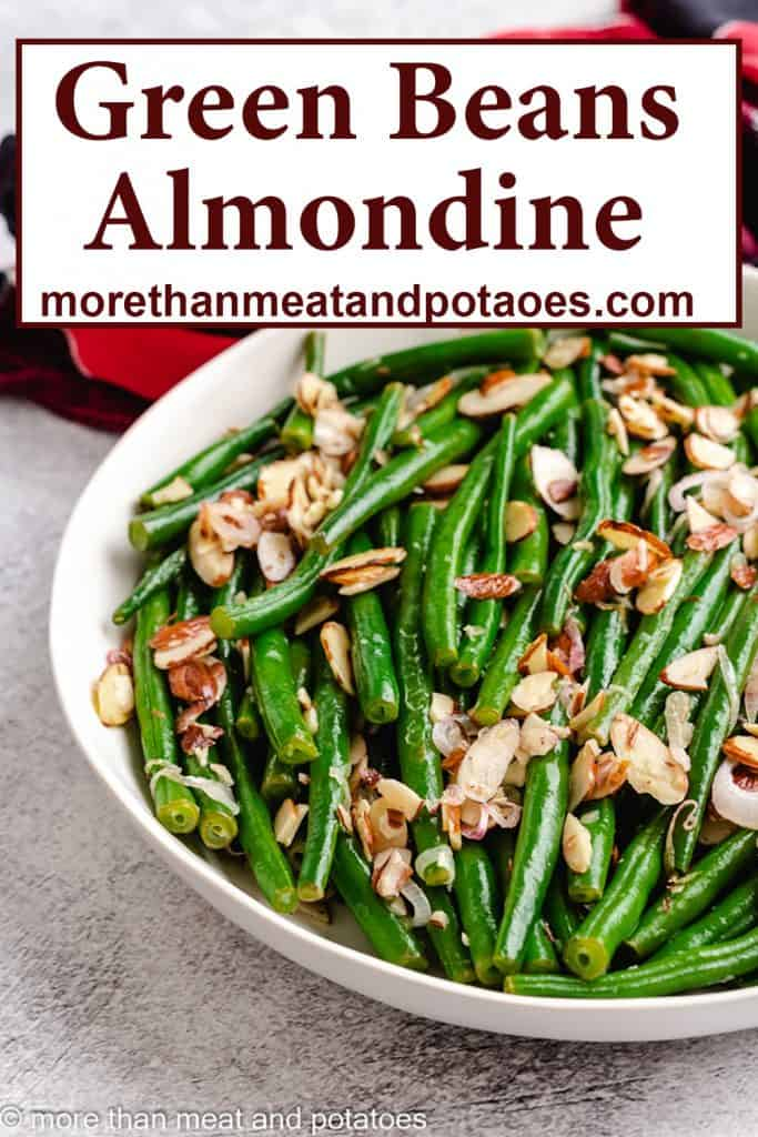 Green beans almondine topped with sliced almonds.