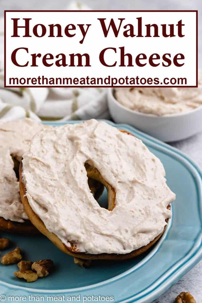 Honey walnut cream cheese spread over a bagel.