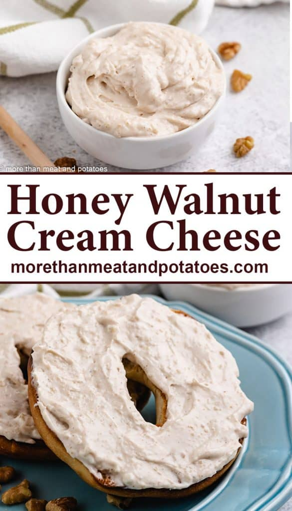 Two stacked photos depicting the honey walnut cheese spread.
