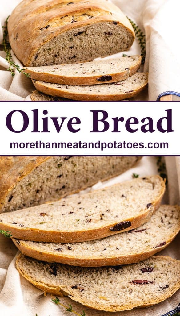 Two stacked photos displaying the partially sliced kalamata olive bread.