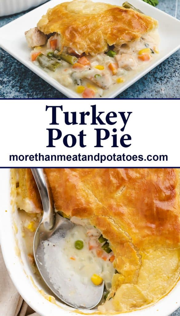 Two stacked photos showing the pot pie being served.