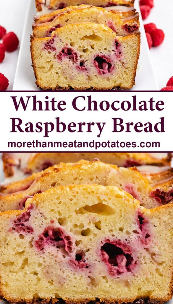 Close up of raspberry bread with white chocolate glaze.