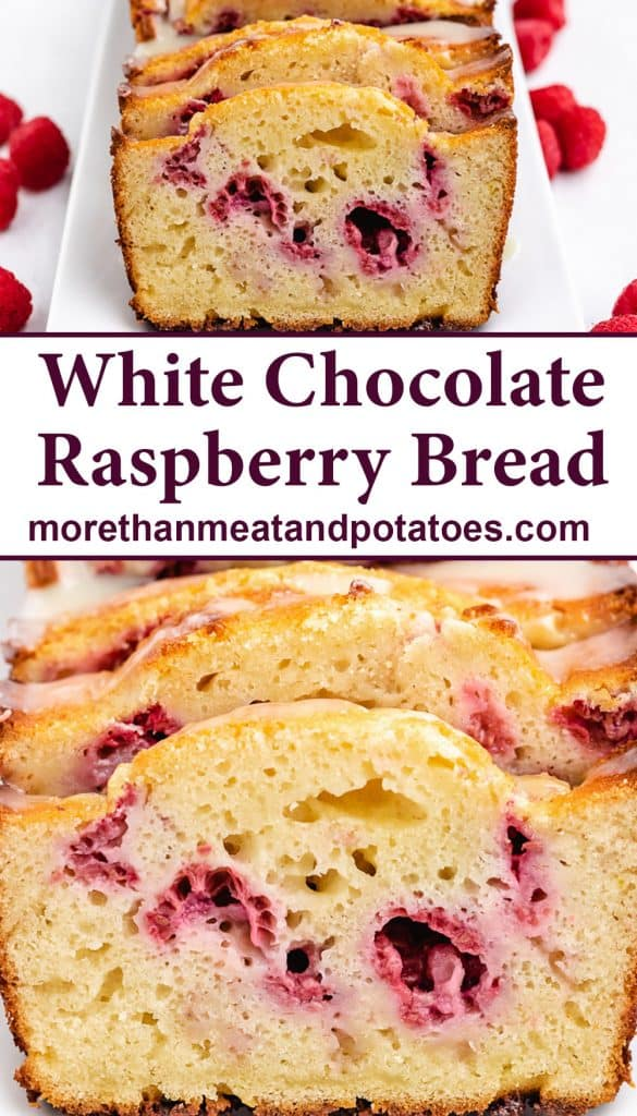 Two photos of sliced raspberry bread.