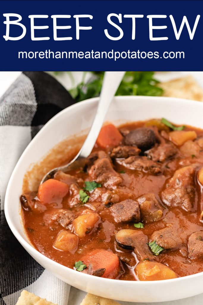 A close view of the homemade beef stew showing the meat and vegetables.