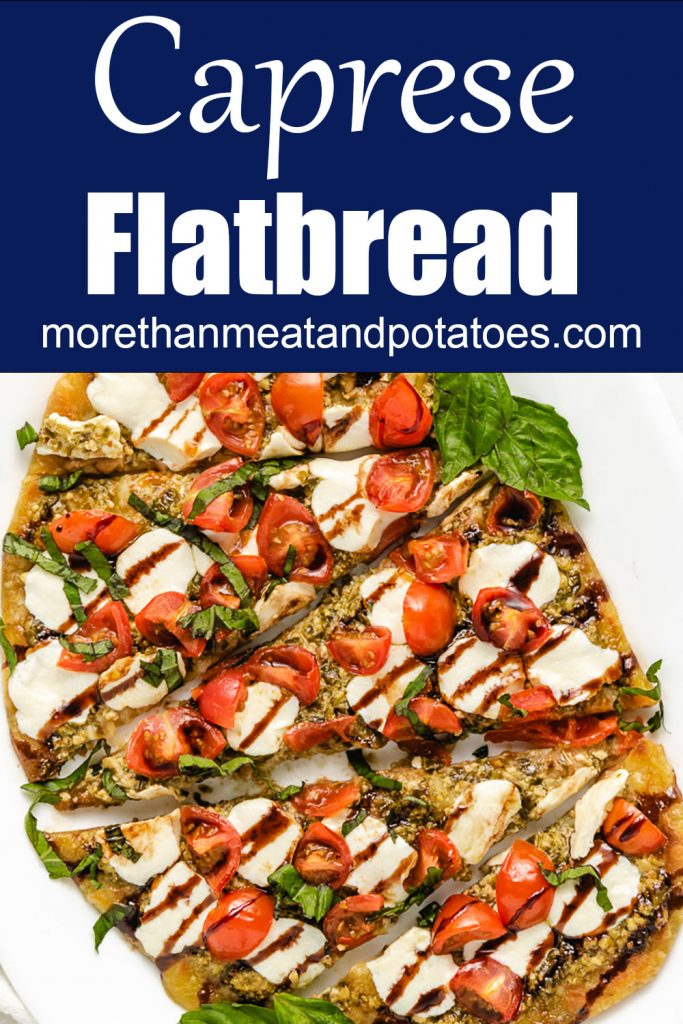 Top down of mozzarella tomato flatbread.