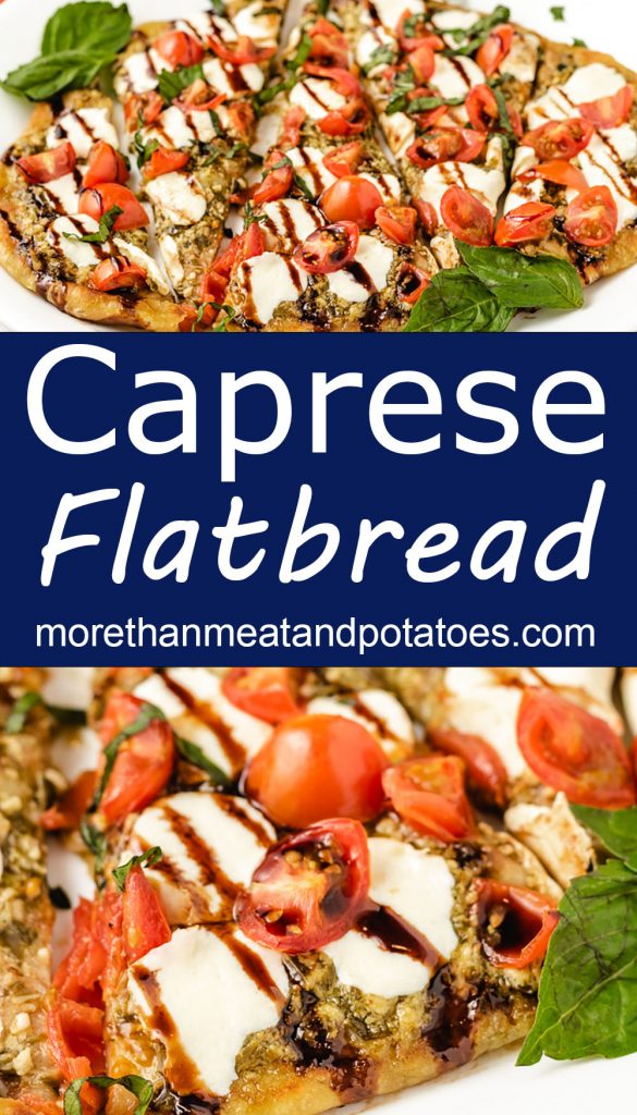 Collage of two photos showing sliced caprese flatbread.