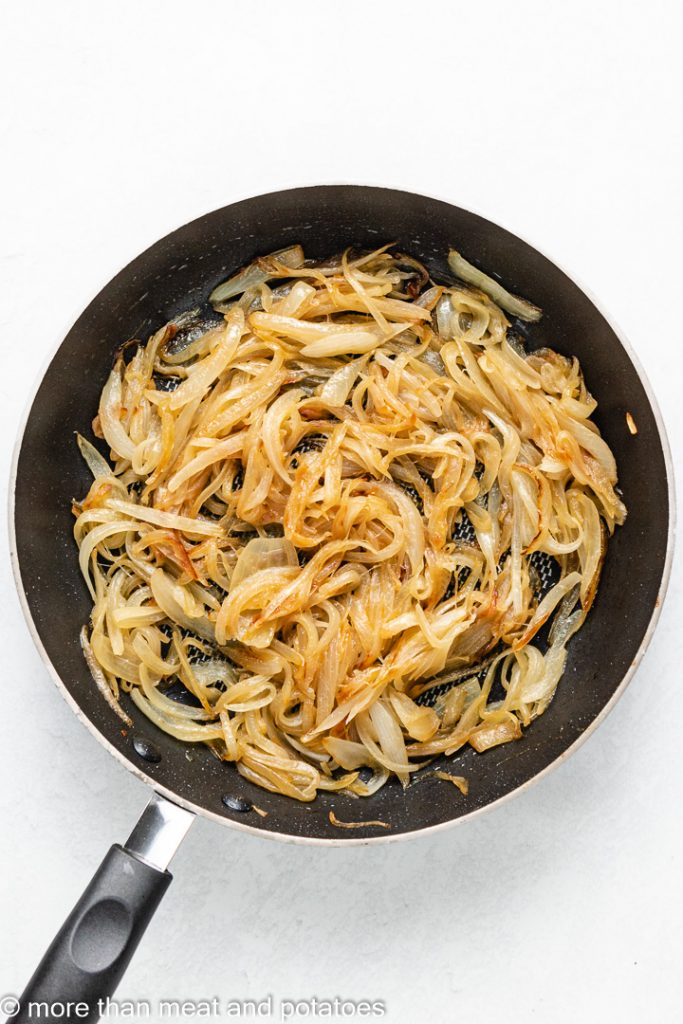 The onions have cooked until they've caramelized.