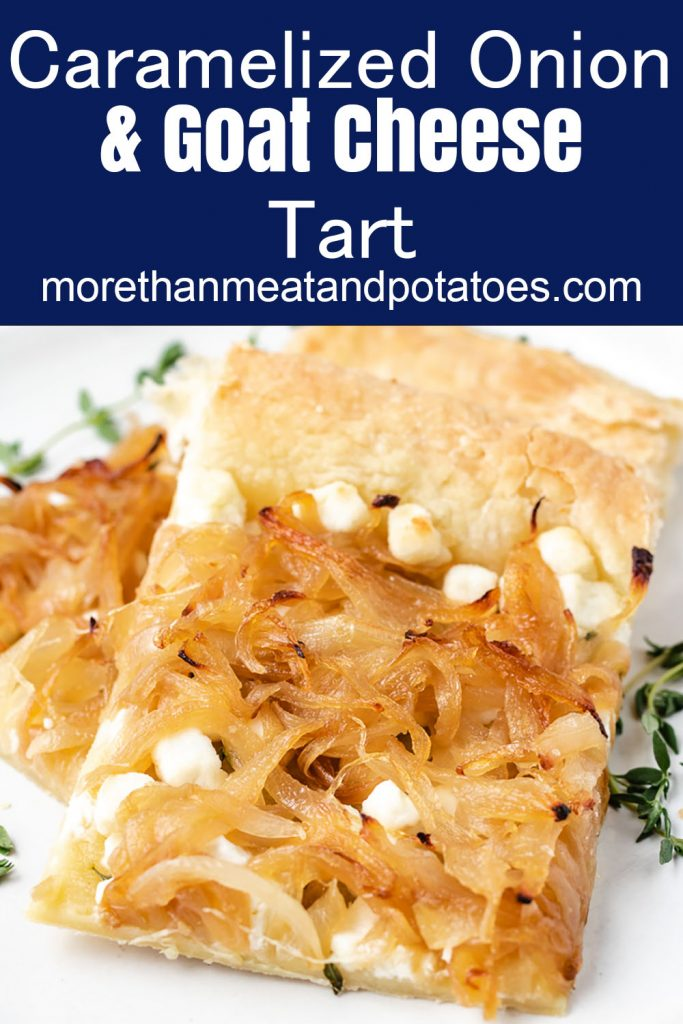 Two slices of puff pastry tart on a plate.
